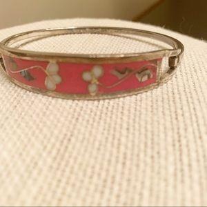 Vintage Mexican bracelet abalone & alpaca silver